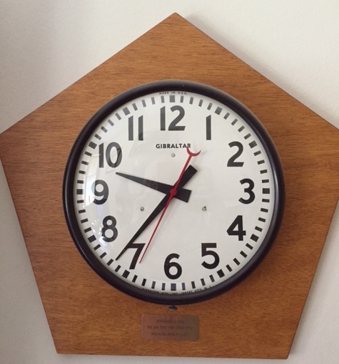 "John Turnquist, our synod's secretary, is a survivor of 9/11. This is the clock that was hanging on the wall of his office on the 5th deck of the E ring of the Pentagon. The plate reads, ""September 11, 2001, The Day That Time Stood Still, Pentagon, Room 5-E-677""."