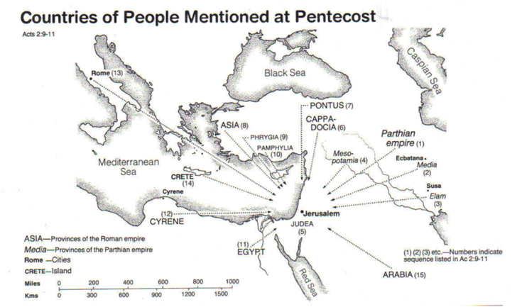Countries of people mentioned at Pentecost map